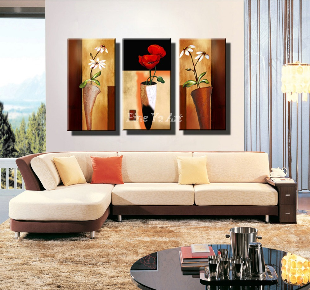 contemporary paintings for living room 3 panel hd print cheap decorative flower abstract modern 21878