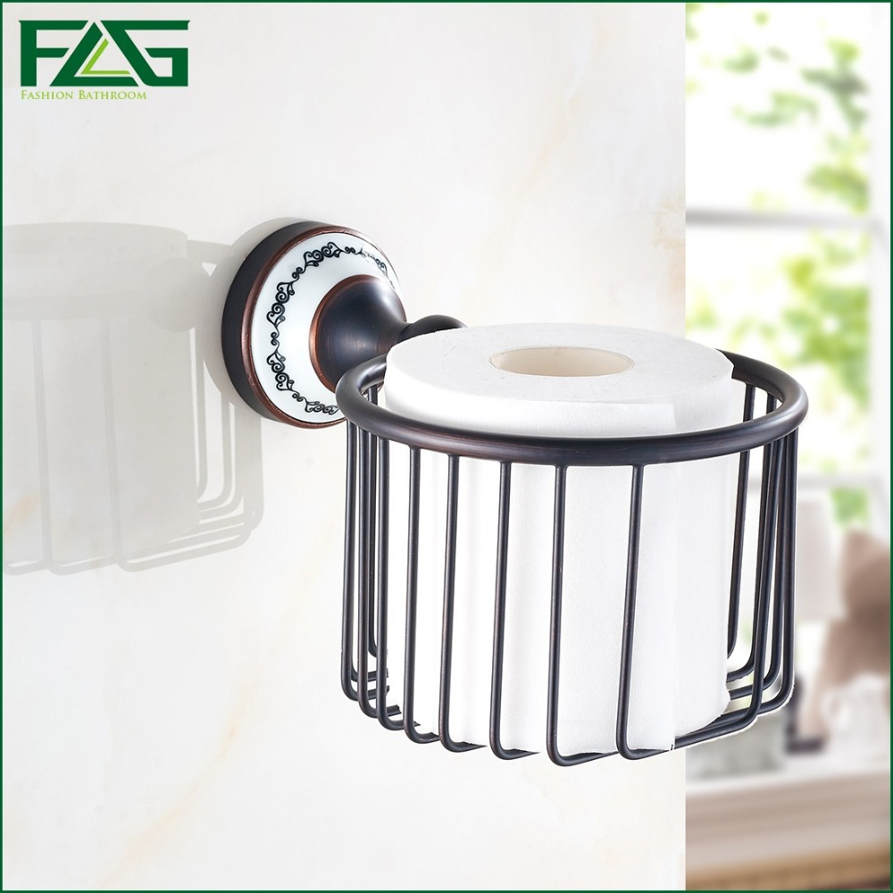 FLG European Style Luxury Oil Rubbed Porcelain Toilet Paper Holder WC Paper Holder Toilet Roll Holder Bathroom Accessories G905 allen roth brinkley handsome oil rubbed bronze metal toothbrush holder