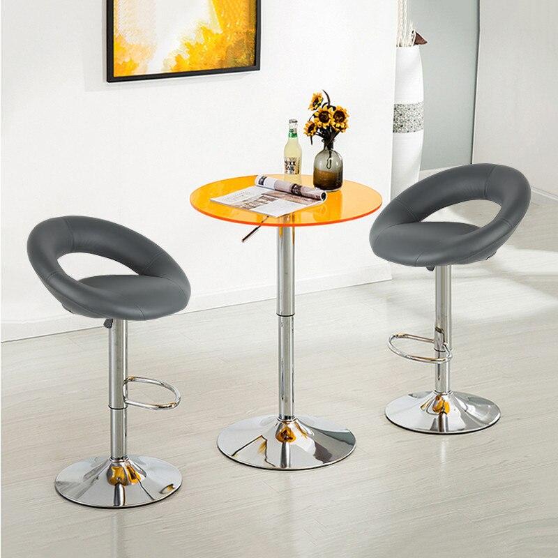 2 PCS/ Set Home Bar table Artificial PU Leather Bar Stools Modern Bar Chair Adjustable Swivel Chairs Moon Shaped Backrest HWC