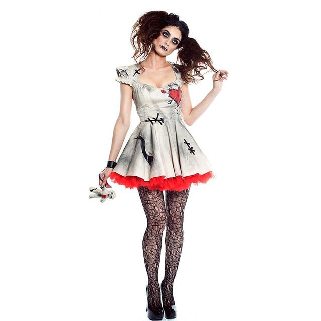 Kadın hayalet gelin Cosplay seksi Voodoo bebek kostümleri cadılar bayramı kostümleri kadınlar için yetişkin ölü Cosplay kostüm