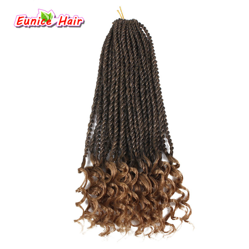 Crochet Braids 16inch Synthetic Pre-curled Crochet Hair Extensions Ombre Grey #1B/27 30strands Curly Senegalese Twist Braid Hair