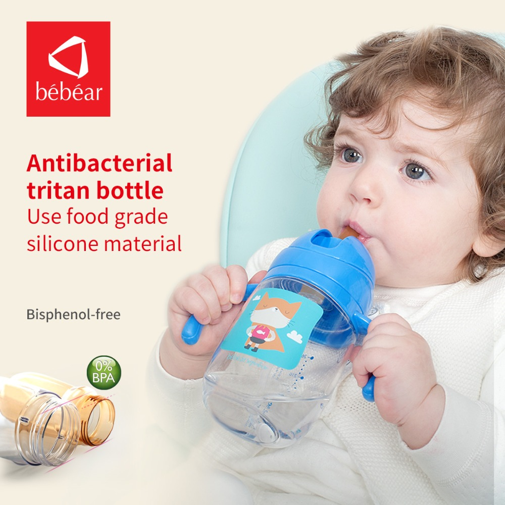 Bebear Baby Straw Cup Sippy Cups Cartoon Feeding Bottle Water Eco-friendly Tritan Cup for Babies Drinking Learner Bottle 240ml baby drinking water bottle cups with straw portable feeding bottle cartoon water feeding cup with the handle for baby hot