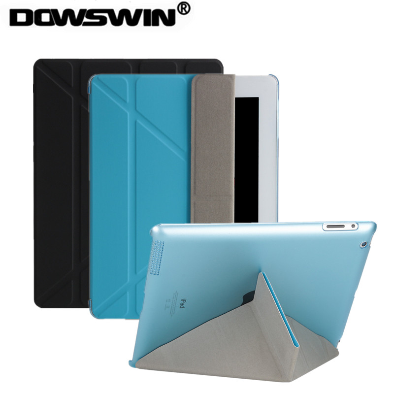 DOWSWIN case for ipad 2, Smart Cover for ipad 3 PU Leather with transparent PC hard back cover shockproof for ipad 4 case smart case for ipad mini 4 case transformer folding with stand slim pu leather transparent back cover for ipad mini4 7 9
