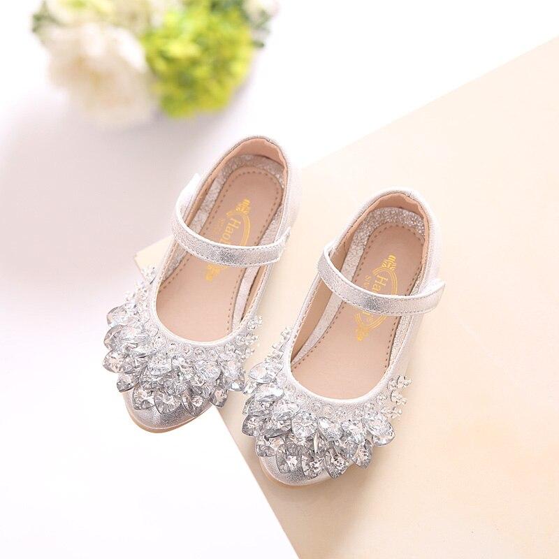 1c0b7127f252a SLYXSH 2018 NEW Rhinestone Glitter Kids Girls Shoes Princess Girls Sandals  Toddler Big Girls Wedding Party Shoes