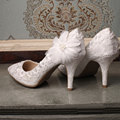2016 Bridal Shoes Summer Hollow White Lace Beautiful Wedding Marriage Flower High-heeled  Women's Pumps Woman shoes  32-42