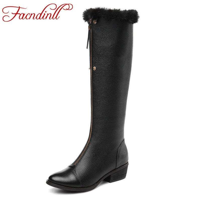 FACNDINLL women boots shoes new fashion autumn winter warm snow boots square heels round toe black zipper knee high boots shoes airfour new fashion style warm winter boots for women over the knee round toe square high heels poitnted toe fashion lady shoes