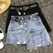 Black denim skirt fahsion irregular hole single breasted women mini a-line skirt