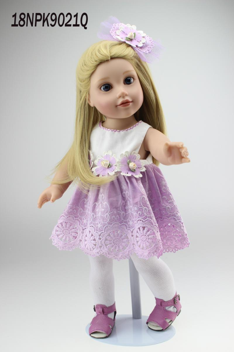 ФОТО 18'' 45CM  GIRL blond long straight Hair with purple AMERICAN PRINCESS Dress Reborn Baby dolls  newborn baby doll girl toys