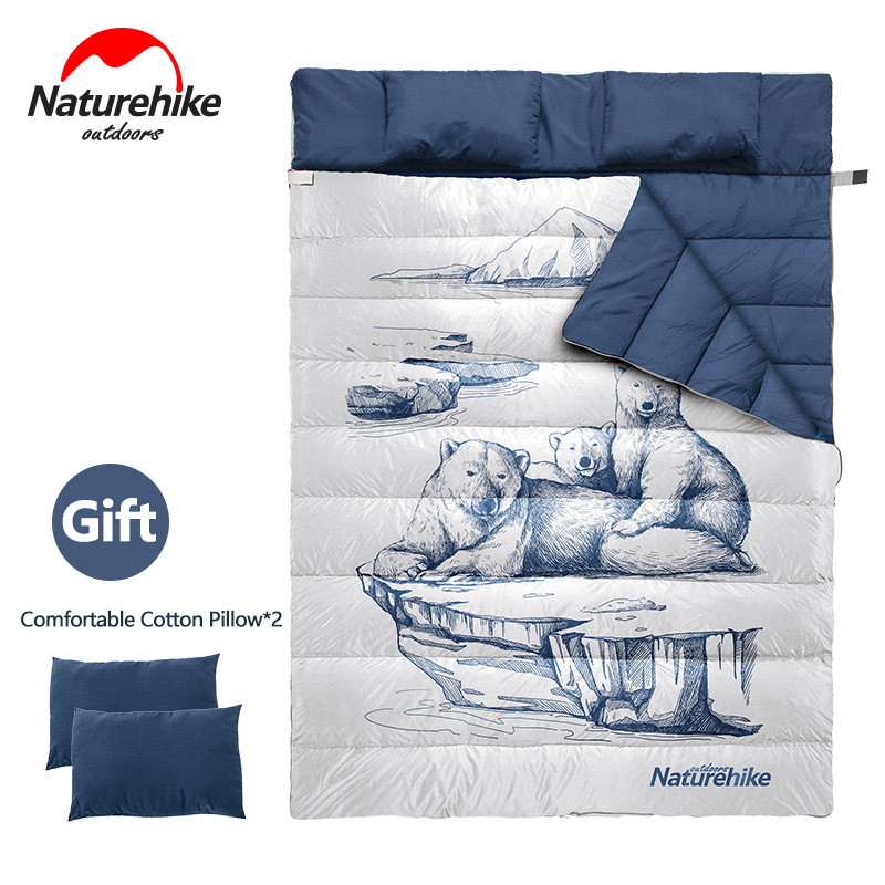 Naturehike Double Sleeping Bag Separable Into 2 Single Sleeping Bags With 2 Pillows Comfortable Breathable Camping