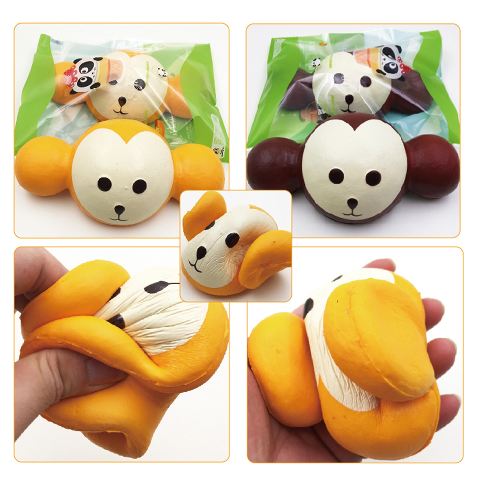2017 New Brand SquishyFun Super Slow Rising Jumbo Monkey Bun Squishy With Original Package free shipping