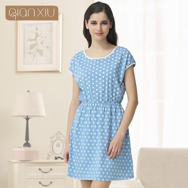 Sleepwear Top Fashion None Polka Dot Gecelik 2016 New Summer 95% Cotton Lady Nightdress Lovely Sleepshirt O-neck Women Nightgown