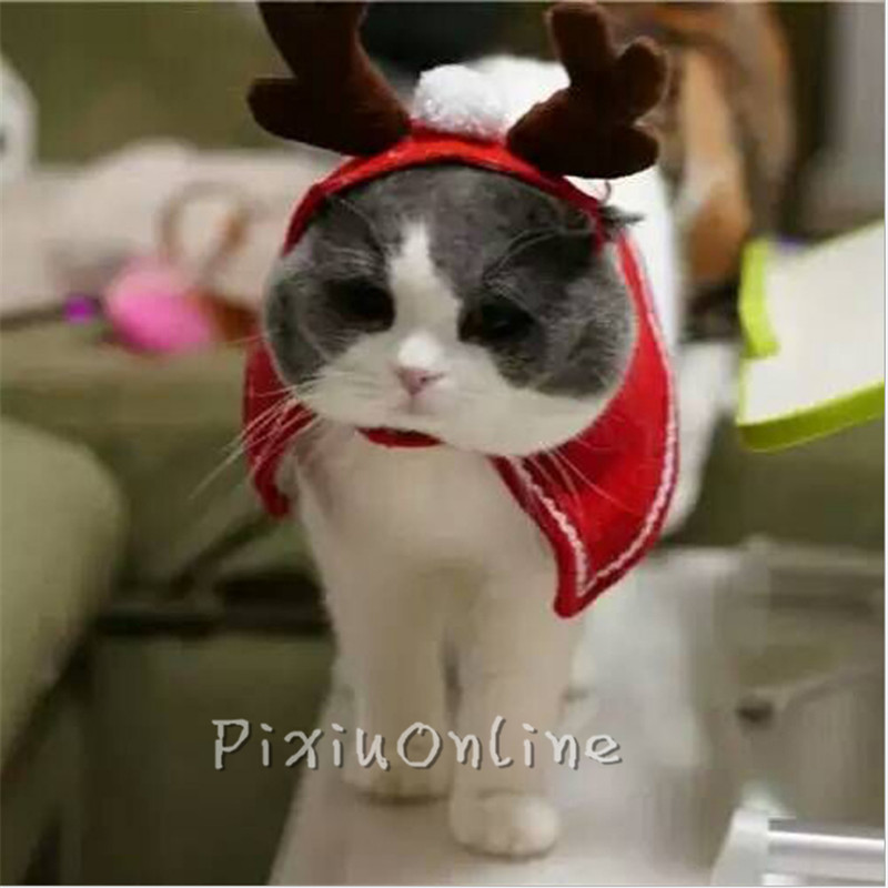 1PCS YL263 Christmas Headbands Fancy Dress Party Hat Reindeer Antlers Pet Cat Dog Xmas Costume Decoration Head Hand Tool Parts large 24x24 cm simulation white cat with yellow head cat model lifelike big head squatting cat model decoration t187