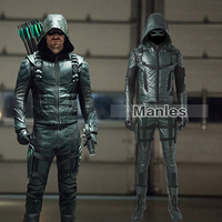 Green Arrow Oliver Queen Cosplay Costume Green Arrow Season 5 Superhero Clothing Male Halloween Leather Costume