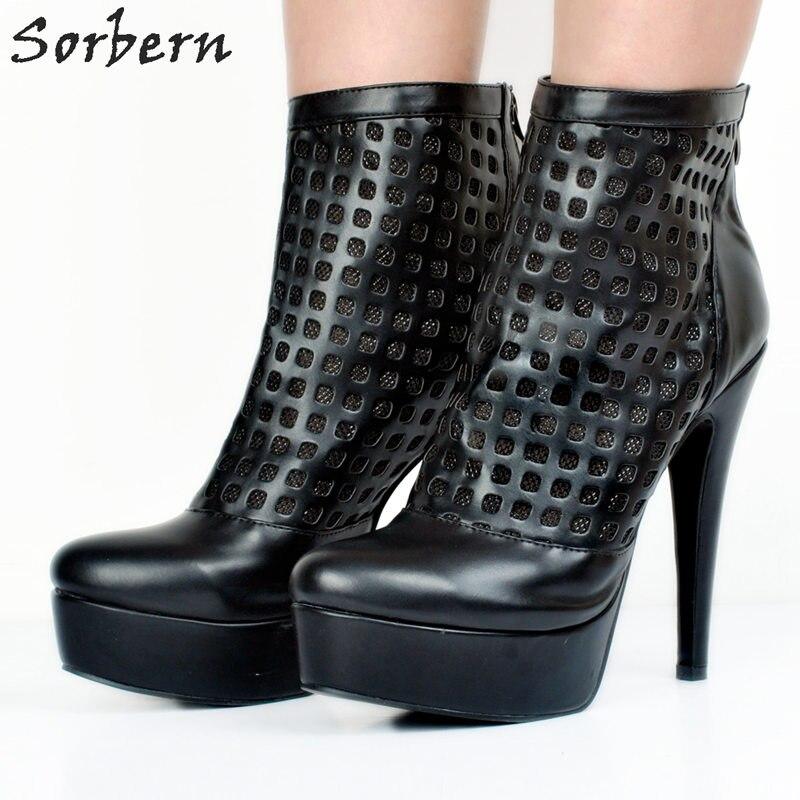Mujer Zipper D'hiver Chaussures Aiguilles Taille Bout Talons Bottines Noir Pu Femmes Pour Colors Creux Noir custom Botines Pointu Bottes Cx7nqZRXnw