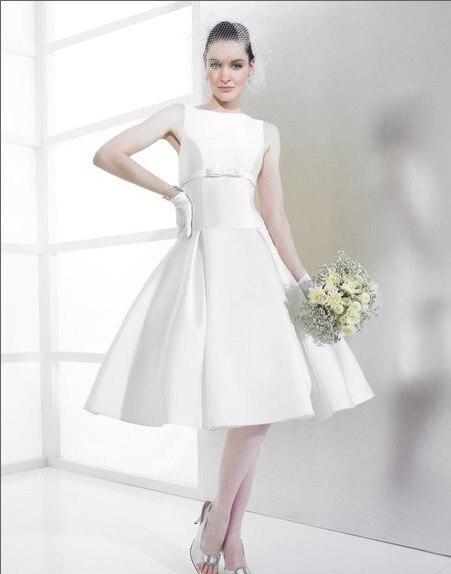 Grande taille partie Mikado courte balle robe de mariée profonde v-back taille goutte genou longueur boutons zipper 2018 robes de demoiselle d'honneur