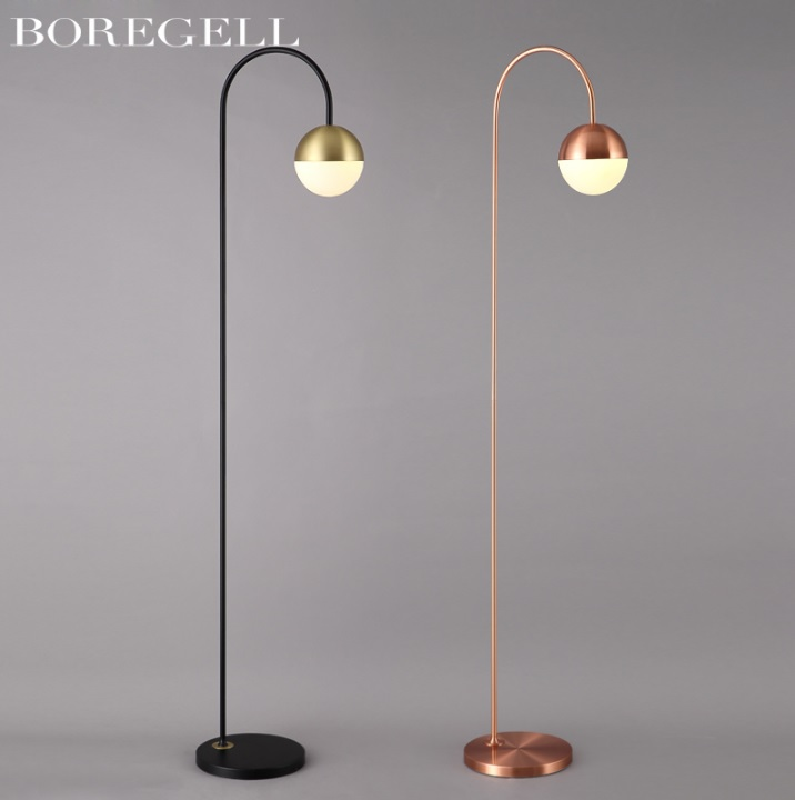 Rectilinear Floor Lamp With Frosted Shade