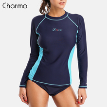 Charmo Women Rash Guards Swimwear Long Sleeve Rashguard Swim Shirts Surf Top Swimsuit Running Shirt Hiking UPF 50+
