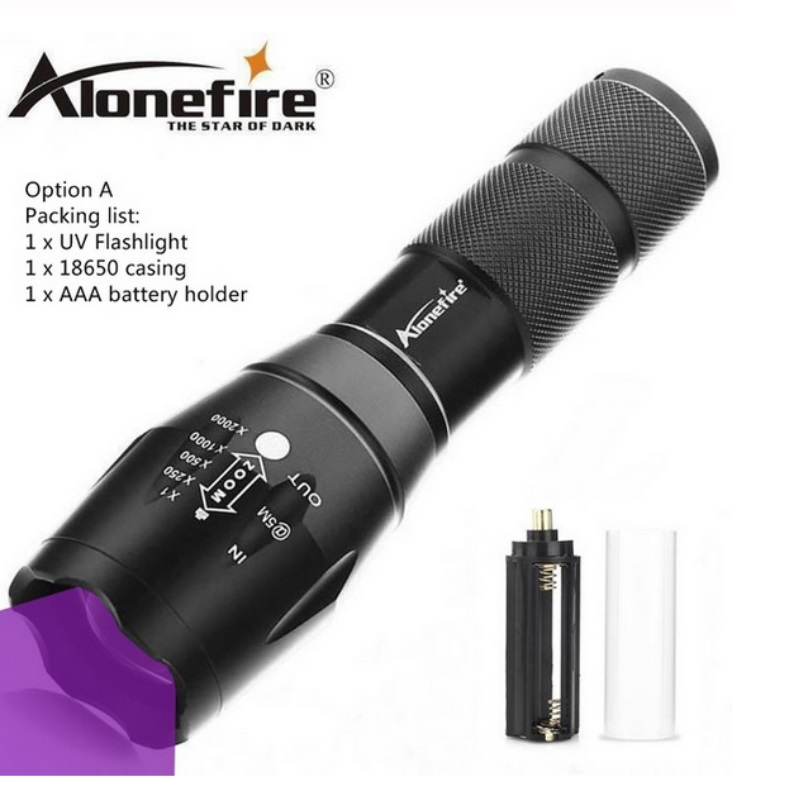 AloneFire E17 UV Flashlight 365nm Ultraviolet Zoomable 18650 Flashlight for Invisible Cat Dog Pet Stains Hunting Marker Checker