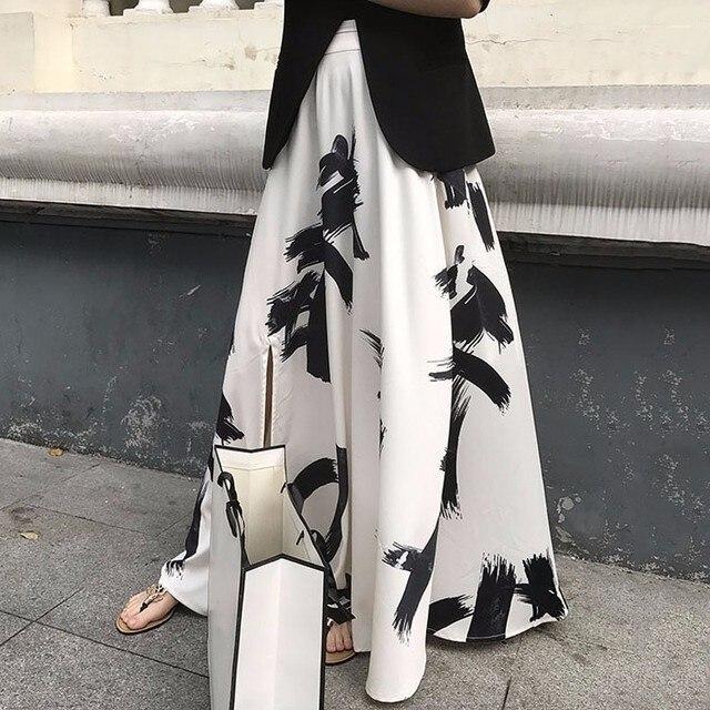 TWOTWINSTYLE Print Split Skirt Ladies High Waist Elastic Large Size X Long Elegant Skirts Female 2019 Spring Summer Tide Clothes 10