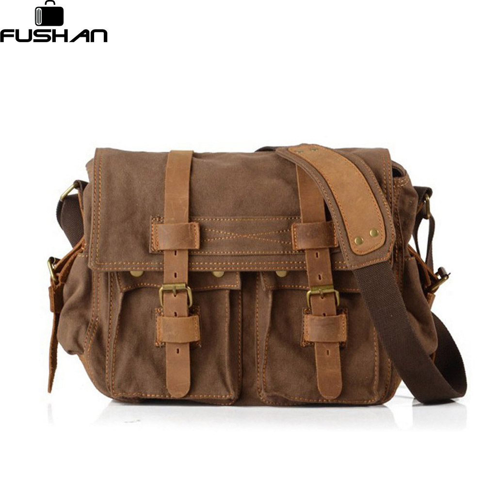 FUSHAN High Quality Men Canvas Bag Casual Travel Men's Crossbody Bag Luxury Men Messenger Bags Vintage shoulder bags high quality casual men bag
