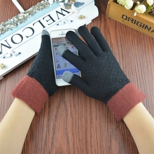 Fashion Mens Knitted Touch Screen Gloves High Quality Winter Autumn Thicken Warm Wool Cashmere Gloves Male Casual Finger Mittens
