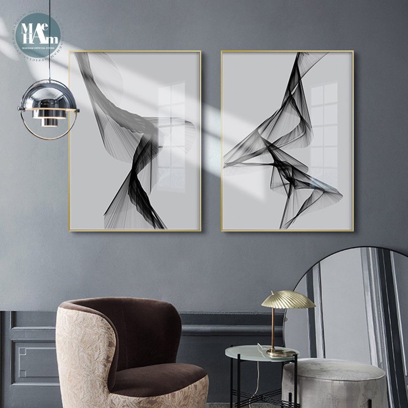Nordic Black White Art Wall Art Canvas Painting Posters Prints Abstract Line Picture For Living Room Morden Home Decor No Frame