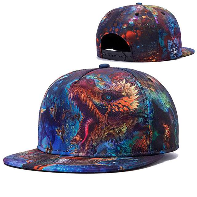 Marcas Unisex 3D Impressão a Cores Dragões Padrão Chapéu Gorras planas hip hop snapback caps boné de beisebol viseira plana dos homens das mulheres chapéus