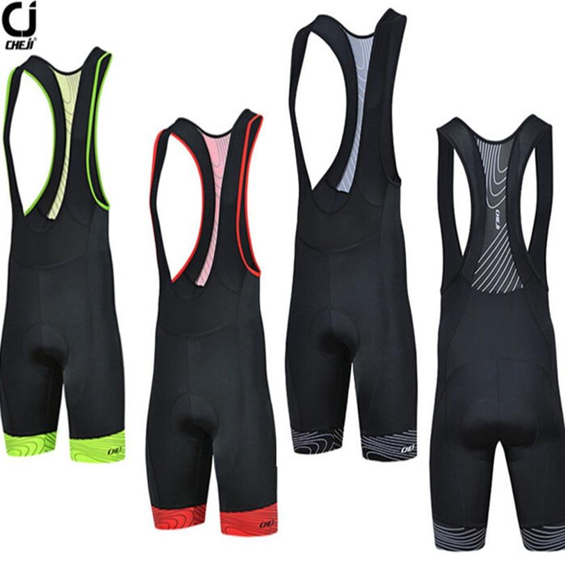 где купить 2016 CHEJI Men Black Bike Bib Shorts Pro Cycling Bib Shorts Red Green Breathable Bicycle 3D GEL Padded Bib Shorts S-XXXL по лучшей цене
