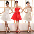 2017 Summer New arrival Cute Lace Homecoming Dress For Women with Bow Korean Style Cute Elegant Cheap Formal Dress