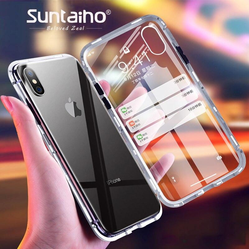 Suntaiho adsorbimento magnetico di caso per il iphone XS MAX per il caso di iphone X 7 8 più il caso di XR Magnetico In Vetro Temperato posteriore Della Cassa Del Telefono