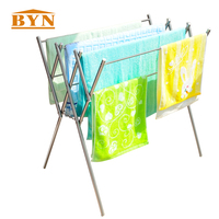 BYN W Stainless Steel Folding Clothes Rack Metal Laundry Collapsible Drying Rack Indoor Series Freestanding Cloth
