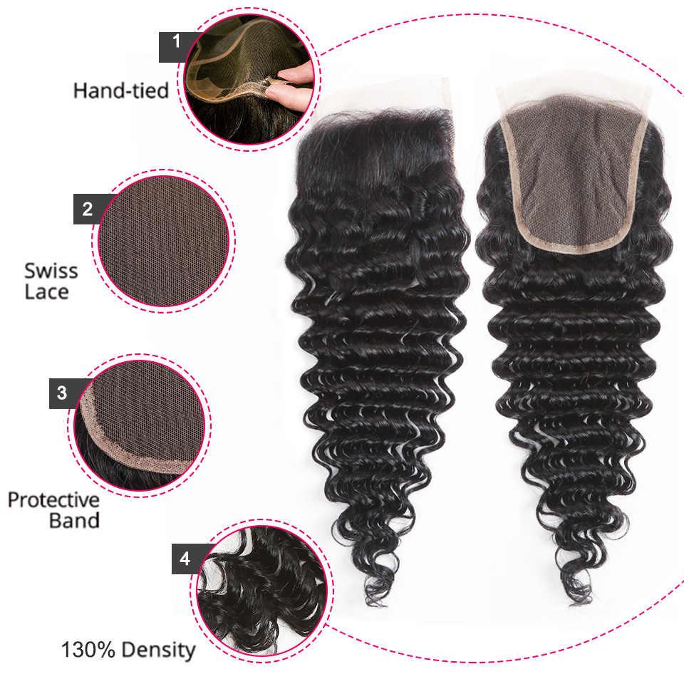 Perla Negra brasileña suelta pelo profundo 3 paquetes con cierre doble trama Remy paquetes de cabello humano con cierre