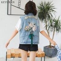 Spring Summer New Fashion Floral Embroidery Denim Vest Jacket Sleeveless Loose Denim Waistcoat Women Jeans Outerwear L3479