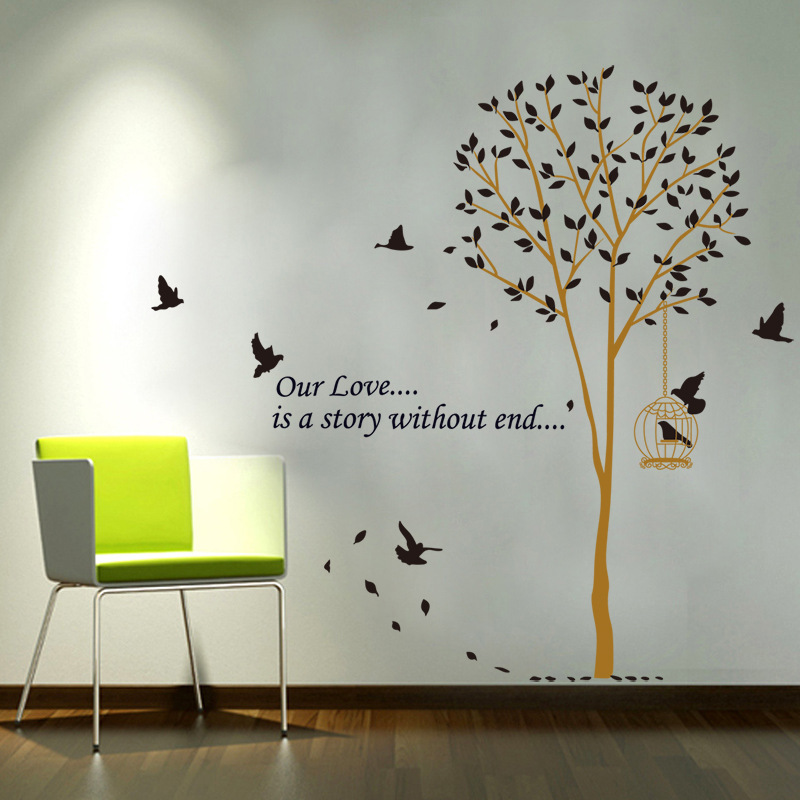 Living room green brown tree wall sticker living room decoration removable vinyl office staircase birdcage wallpaper