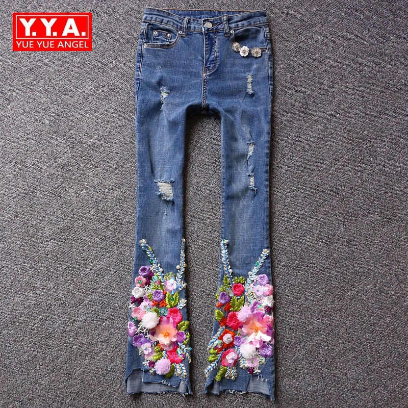 2017 New Fashion High Quality Women Flare Pants Mid Waist Winter European Hole Ripped Washed Embroidery Sequined Stretchy Jeans colorful brand large size jeans xl 5xl 2017 spring and summer new hole jeans nine pants high waist was thin slim pants