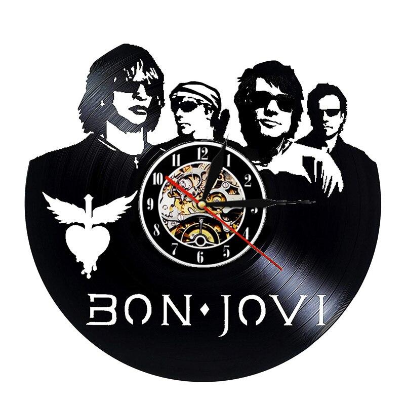 Horloge murale Vintage vinyle Record Horloge murale Design Bon Jovi américain Rock Band musique horloges montre décor à la maison cadeaux pour les Fans