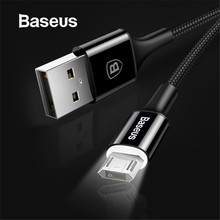 Baseus LED Lighting Micro USB Cable for Xiaomi Redmi 4X Note 4 5 Reversible Micro USB Charging Cable for Samsung S7 Mobile Phone(China)