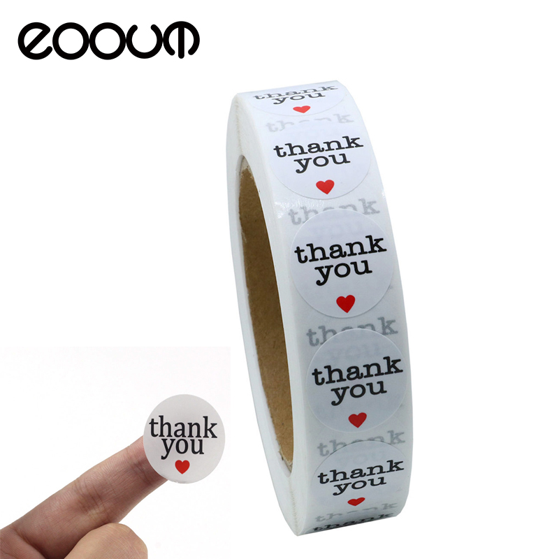 EOOUT 1000pcs 2.5cm White Round Thank You Self-adhesive Stickers Labels Wafer Seals, Decorative Sealing Stickers matte white a4 kraft paper self adhesive square print label stickers library book shipping labels for laser inkjet printer