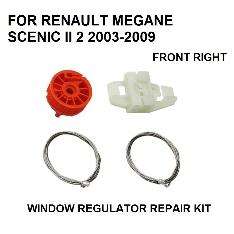 CAR WINDOW REGULATOR SLIDER REPAIR KIT CLIPS FOR RENAULT MEGANE SCENIC II 2 NEW 2003-2009 FRONT RIGHT NEW