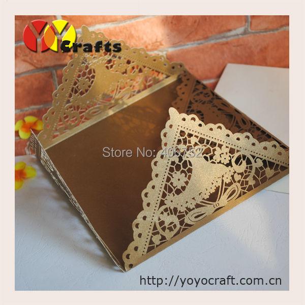 inc83 factory price brown wedding invitation card fold