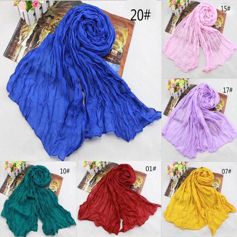 Hot Sale 2018 New Brand Fashion Cotton&Flax Blending Summer Scarf Women 180*50cm Solid Long Women's Shawl Cachecol  WJ002