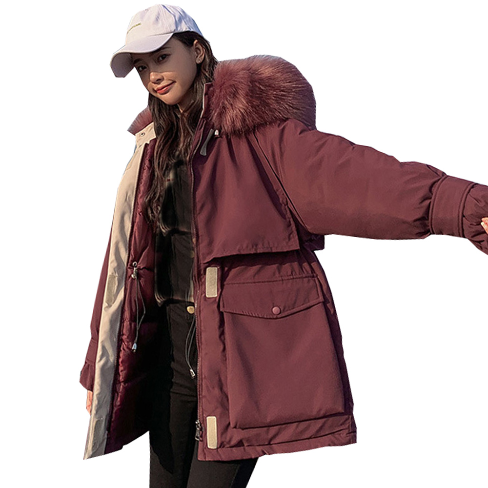 Long Sleeve Coat Winter Jackets Long Heavy Hair Brought Down Jacket Winter With Thick Coats Hooded Winter Jacket 8601