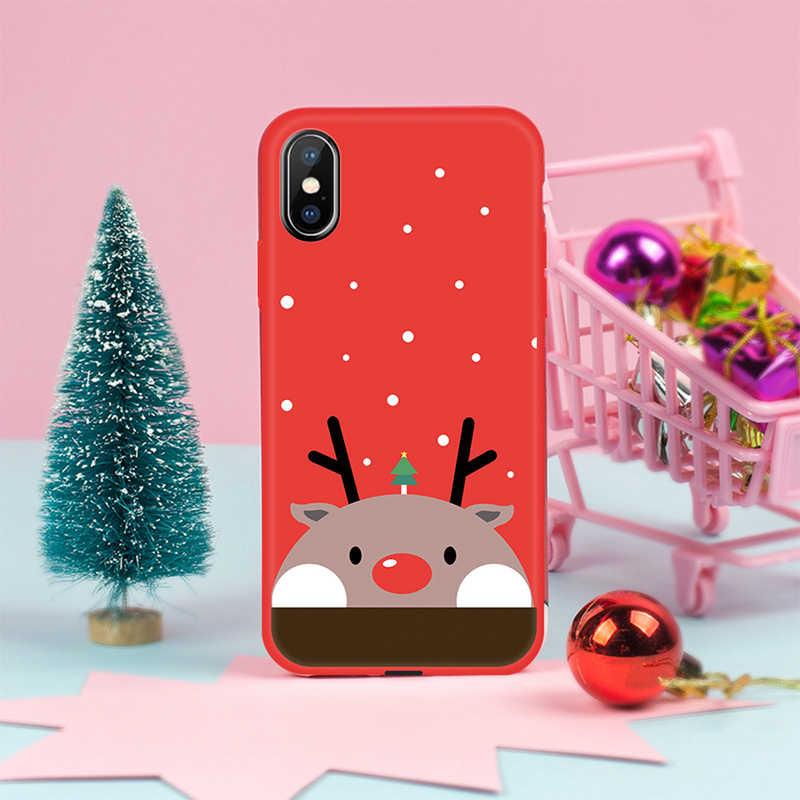 2019 Ano Novo Natal Case Para iPhone XR XS MAX Bonito Dos Desenhos Animados Papai Noel Do Natal Alces Capa Para iPhone X 7 8 6 6 s Mais Cobertura