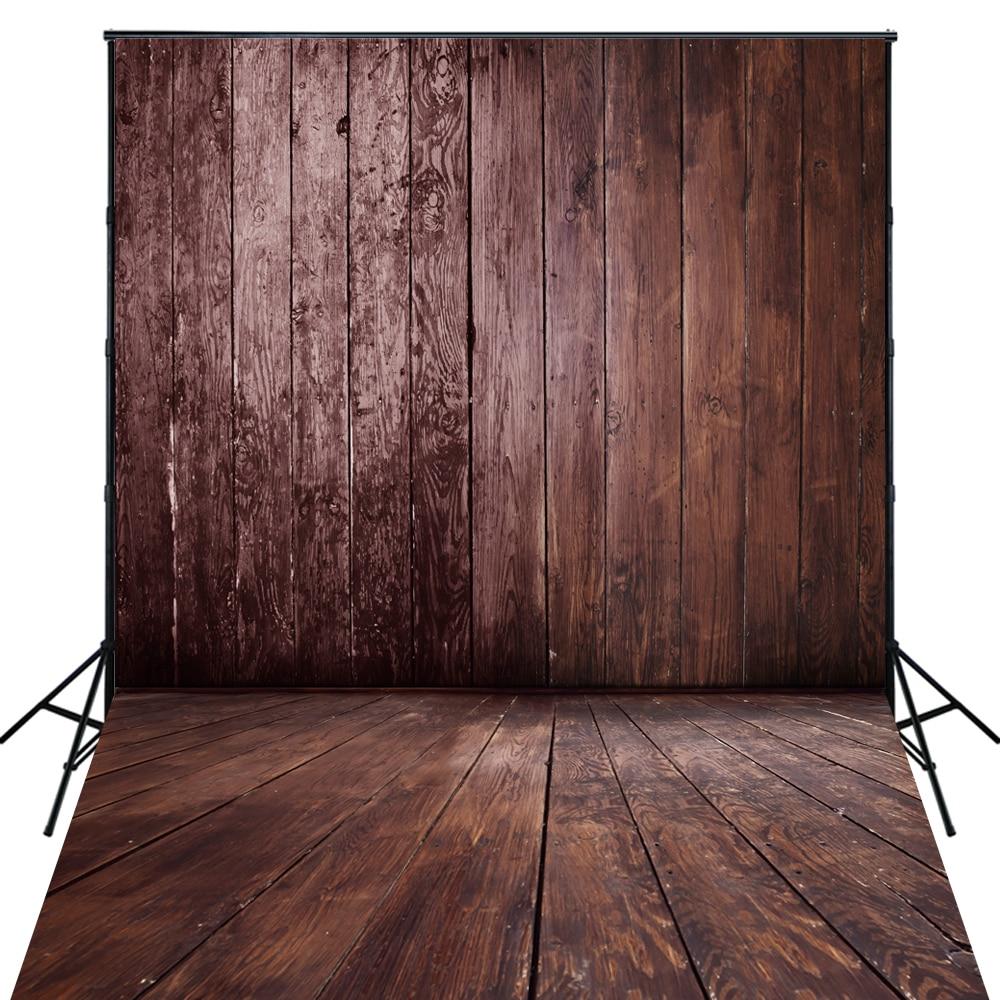 4X6ft Art Fabric Rustic Wood Plank Floor Backdrop Brown