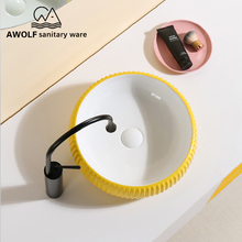 אמנות כיורי רחצה קרמיקה כלי מודרני כביסה אגן קערת צהוב לבן מעל דלפק בעבודת יד Lavatary כיור AM894