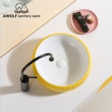 Art Badkamer Gootstenen Keramische Vessel Moderne Wastafel Kom Geel Wit Boven Teller Handgemaakte Lavatary Sink AM894