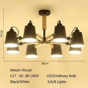 Image 2 - Lampadario a LED E27 a testa girevole in legno nordico luce in ferro bianco e nero per sala da pranzo soggiorno camera da letto hotel appartamento