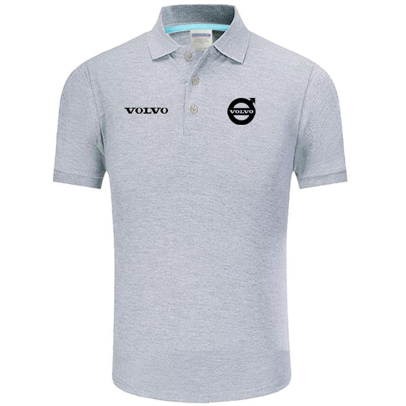 Summer   Polo   Shirt Volvo logo Brand Men's Fashion Cotton Short Sleeve   Polo   Shirts Solid Jersey Tops Tees