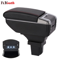 Car Armrest Box For Chevrolet Trax 2014 2017 USB Charging LED Light Arm Rest Rotatable Centre Console Storage Box Styling