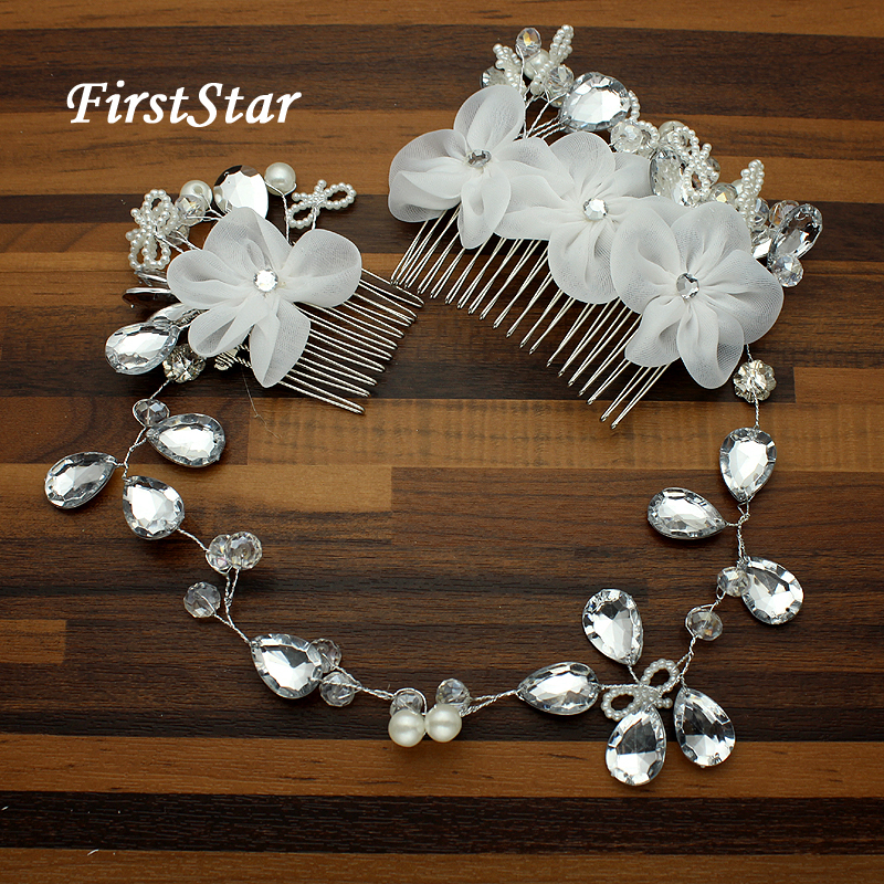 Fake Pearl Crystal Diamante Flower Hair Clip Comb Bride Bridesmaid Grip Slide v3
